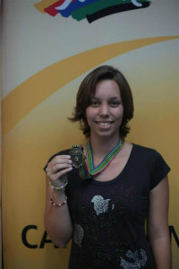 Marilie with her gold medal