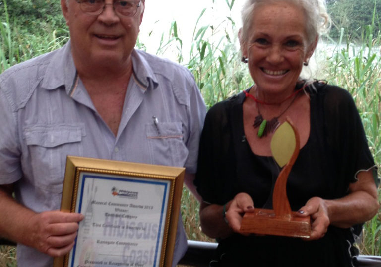 John Makin and Mary Green with the Mayoral Award for Responsible Tourism